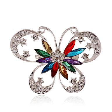 Dames Vlinder Strass / Verzilverd / Gesimuleerde diamant - Gepersonaliseerde / Luxe / Statement Dier Blauw / Regenboog Broche Voor