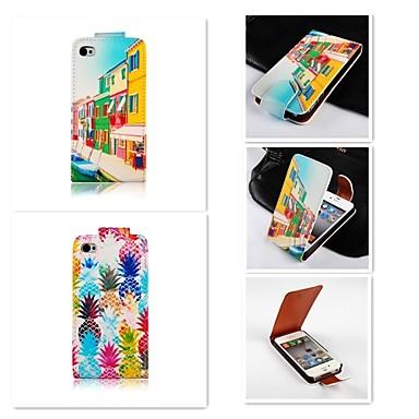 Capinha Para iPhone 5 Apple Capinha iPhone 5 Flip Capa Proteção Completa Fruta Rígida PU Leather para iPhone SE / 5s iPhone 5