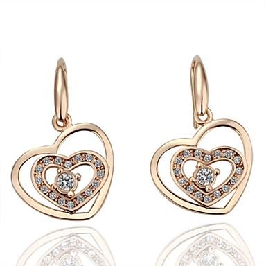 Brincos Compridos Brincos em Argola Coração Imitação de Pérola Formato de Coração Prata Dourado Jóias Para Casamento Festa Diário Casual1