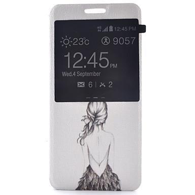 voordelige Galaxy S-serie hoesjes / covers-hoesje Voor Samsung Galaxy S7 plus / S7 edge / S7 met venster / Flip Volledig hoesje Sexy dame PU-nahka