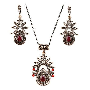 Mulheres Ruby Sintético Zircônia Cubica Conjunto de jóias Brincos Colares - Vintage Festa Trabalho Pedras dos signos Conjunto de Jóias