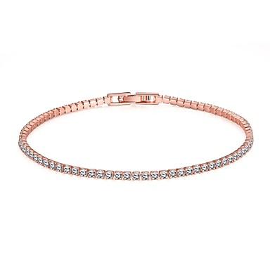 e1768b35b Women's Tennis Bracelet Ladies Simple Style Fashion Rhinestone Bracelet  Jewelry Golden / Gold / Pink For
