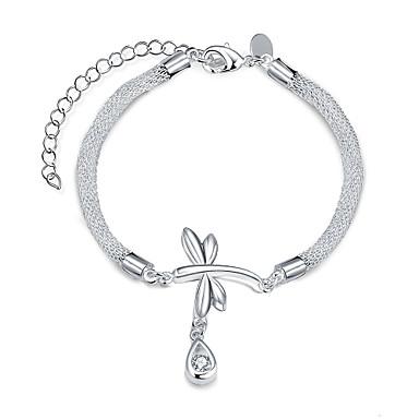 Dames Armbanden met ketting en sluiting Europees Zirkonia Kubieke Zirkonia Koper Verzilverd Drop Zilver Sieraden VoorFeest Dagelijks