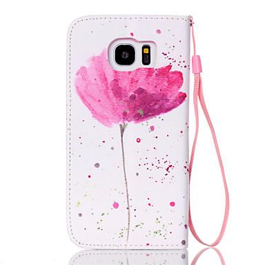 Capinha Para Samsung Galaxy Samsung Galaxy S7 Edge Porta-Cartão Carteira Com Suporte Flip Capa Proteção Completa Flor PU Leather para S7