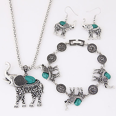 Women's Turquoise Jewelry Set - Resin, Turquoise Elephant, Animal Luxury, European, Cute Include Black / Red / Blue For Party / Birthday / Engagement / Earrings / Necklace / Bracelets & Bangles