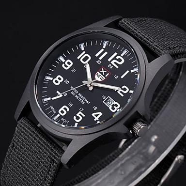 Heren Polshorloge Militair horloge Kwarts Stof Band Zwart Wit Bruin Groen
