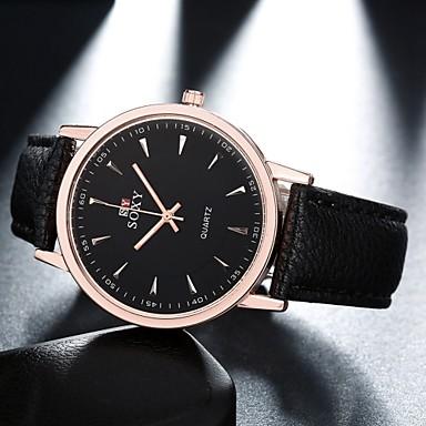 Heren Modieus horloge Kwarts Vrijetijdshorloge Leer Band Zwart Bruin Zwart Bruin