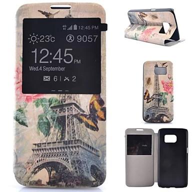 Capinha Para Samsung Galaxy Samsung Galaxy S7 Edge Com Suporte com Visor Flip Corpo Inteiro Torre Eiffel Couro Ecológico para S7 plus S7