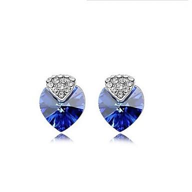 Dames Hart Kristal Oorknopjes - Hart leuke Style Roos Groen Blauw oorbellen Voor Bruiloft Feest Dagelijks