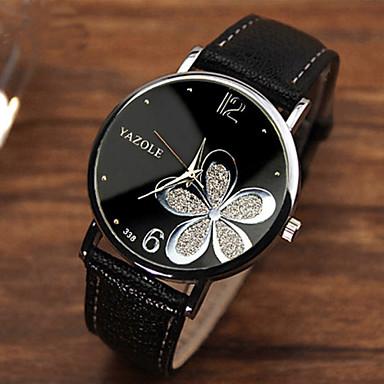 여성용 패션 시계 석영 캐쥬얼 시계 PU 밴드 꽃 블랙 브라운