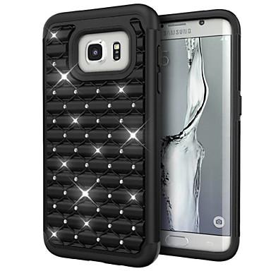 deji® dupla camada híbrida pino de strass armadura que bling da tampa do caso defensor para Samsung Galaxy S7
