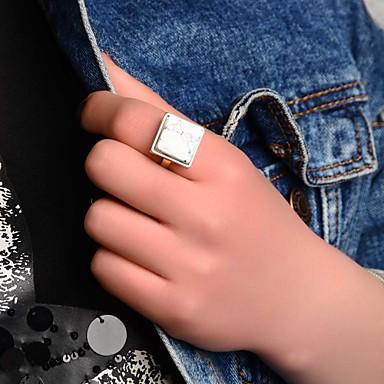 Feminino Anéis Grossos Estilo simples Europeu Cristal Liga Quadrado Forma Geométrica Jóias Para Festa Diário Casual