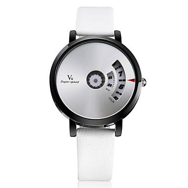 levne Pánské-V6 Pánské Náramkové hodinky Křemenný Kůže Stříbro Hodinky na běžné nošení Analogové Přívěšky Klasické Unikátní kreativní sledování - Hnědá Černobílá Černá Dva roky Životnost baterie