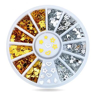 러블리-핑거-네일 쥬얼리-아크릴-1wheel Gold Silver studs nail decorations-6cm wheel