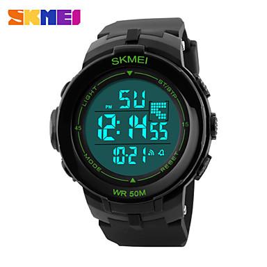 Heren Sporthorloge Digitaal horloge Digitaal LCD Kalender Chronograaf Waterbestendig Dubbele tijdzones Sporthorloge PU BandWit Groen