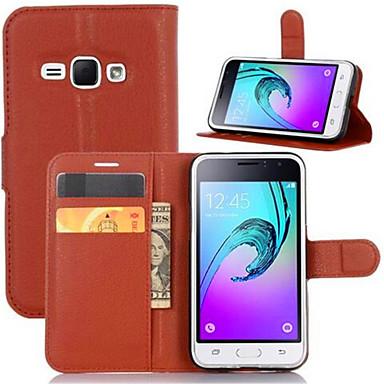 Para Samsung Galaxy Capinhas Carteira Porta-Cartão Com Suporte Flip Capinha Corpo Inteiro Capinha Cor Única Couro PU para SamsungJ7 Prime