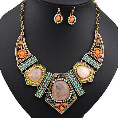 Women's Rhinestone Rhinestone Colorful Jewelry Set Earrings / Necklace - Vintage / Party / Colorful Geometric Rainbow Jewelry Set /