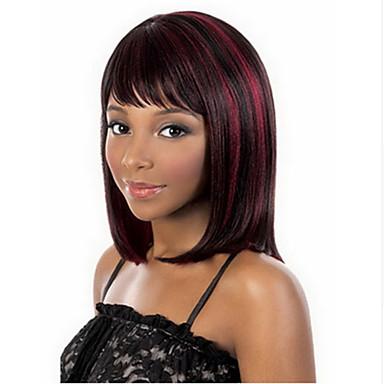 Γυναικείο Συνθετικές Περούκες Χωρίς κάλυμμα Μεσαίο Ίσια Κόκκινο Ανάμεικτο Μαύρο Απόκριες Περούκα Καρναβάλι περούκα φορεσιά περούκες