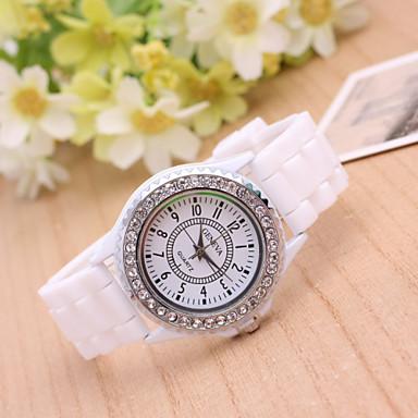Dames Modieus horloge Gesimuleerd Diamant Horloge Kwarts Plastic Band Zwart Wit Blauw Rood Roze Paars