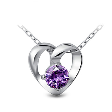 cheap Pendant-Women's Pendant Sterling Silver White Purple Necklace Jewelry For Party Daily Casual