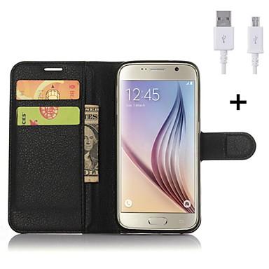 Mert Kártyatartó / Pénztárca / Állvánnyal / Flip Case Teljes védelem Case Egyszínű Kemény Műbőr Samsung S6 edge plus / S6 edge / S6 / S5