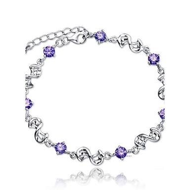 Dames Armbanden met ketting en sluiting - Sterling zilver Oneindigheid Armbanden Wit / Paars Voor Bruiloft / Feest / Dagelijks