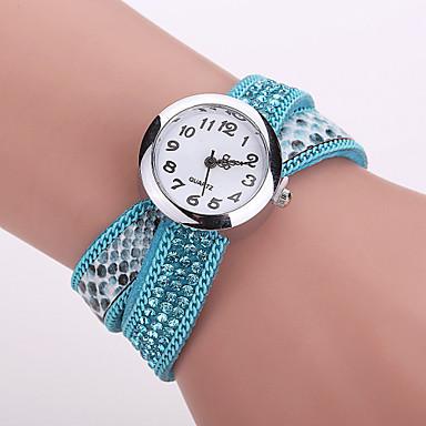 Xu™ 여성용 팔찌 시계 패션 시계 석영 PU 밴드 블랙 화이트 블루 레드 브라운 퍼플