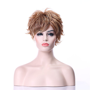 Sentetik Peruklar Bukle Sarışın Sentetik Saç 6 inç Sarışın Peruk Kadın's Şort Bonesiz Sarışın