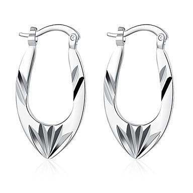 Mulheres Brincos Curtos Brincos com Clipe Esculpido Europeu Prata de Lei Cobre Prata Chapeada Prateado Flor Jóias Casamento Festa Diário