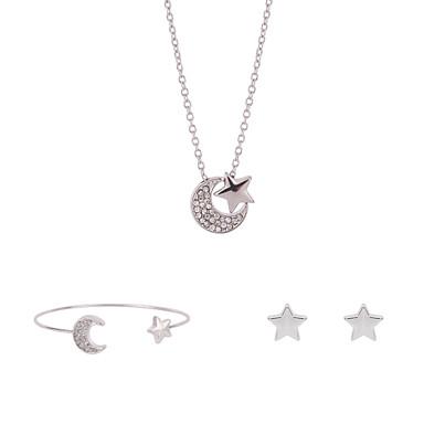 여성용 라인석 도금 플래티넘 모조 다이아몬드 합금 MOON 귀여운 파티 파티 팔찌 귀걸이 목걸이 의상 보석