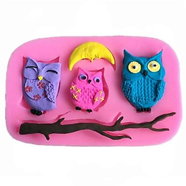 diy animais coruja bolo de chocolate fundido de molde de silicone, ferramentas de decoração bakeware sm-452