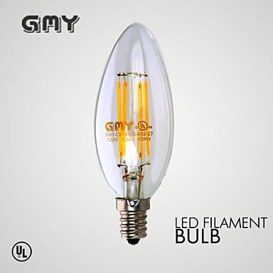 3W E12 LED-kaarslampen B 4 COB ≥350 lm Warm wit Dimbaar / Decoratief AC 110-130 V 1 stuks