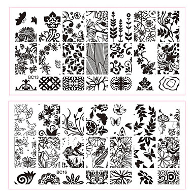 5 pcs Stamping Plate / Nail Jewelry Flower / Fashion Daily Nail Art Design / Metal