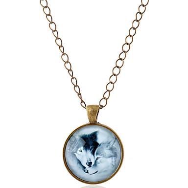 preiswerte Halsketten-Herrn Damen Pendant Halskette Tier Wolf Simple Style Edelstein Glas Aleación Silber Bronze Modische Halsketten Schmuck Für Party Alltag Normal
