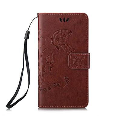 아이폰 자체에 대한 나비 패턴 양각 PU 가죽 소재 휴대 전화 케이스