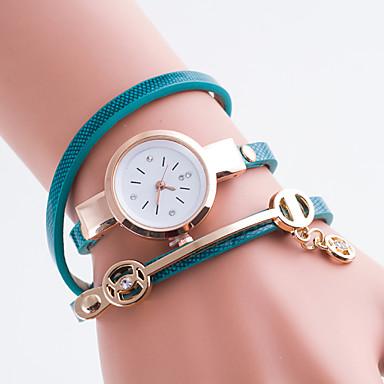 여성용 석영 모조 다이아몬드 시계 캐쥬얼 시계 PU 밴드 우아한 패션 블랙 화이트 블루 레드 그린 핑크 노란색 카키