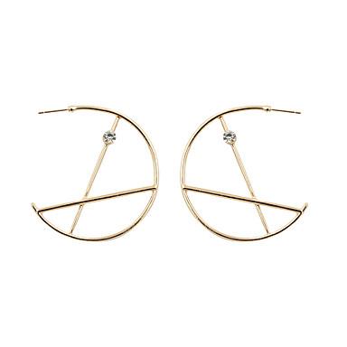 여성용 라인석 도금 골드 모조 다이아몬드 드랍 귀걸이 링 귀걸이 - 사치 골드 Circle Shape Geometric Shape 귀걸이 제품