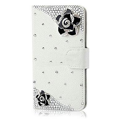 케이스 제품 iPhone 6 iPhone 6 Plus 지갑 카드 홀더 크리스탈 스탠드 플립 패턴 마그네틱 풀 바디 꽃장식 하드 인조 가죽 용 iPhone 6s Plus iPhone 6 Plus iPhone 6s 아이폰 6