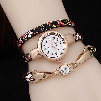 여성용 패션 시계 팔찌 시계 석영 캐쥬얼 시계 합금 밴드 꽃패턴 블랙 블루 골드 퍼플