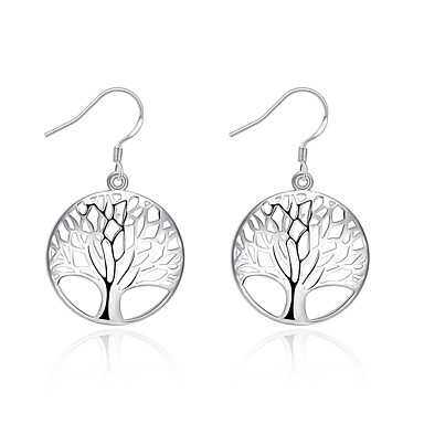 Kadın's Damla Küpeler Euramerican Gümüş Kaplama Hayat Ağacı Mücevher Günlük Kostüm takısı