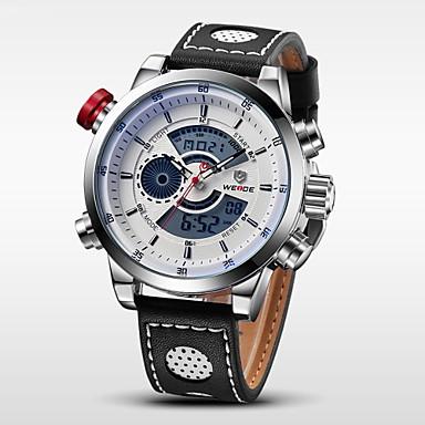 levne Pánské-WEIDE Pánské Náramkové hodinky Digitální hodinky Křemenný Digitální Kůže Černá 30 m Voděodolné Alarm Kalendář Analog - Digitál Přívěšky - Stříbrná / černá Bílá / Stříbrná / Nerez / Chronograf / LCD
