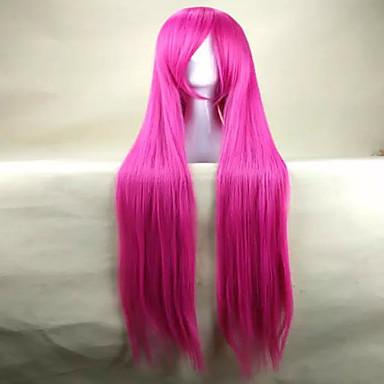 Perucas sintéticas Liso Densidade Mulheres Rosa Peruca de carnaval Peruca de Halloween Peruca Fantasia Muito longo Cabelo Sintético
