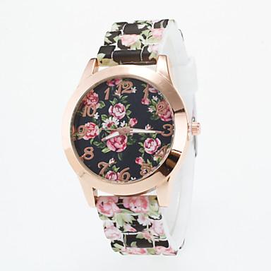 여성용 패션 시계 캐쥬얼 시계 석영 캐쥬얼 시계 실리콘 밴드 꽃 멀티컬러