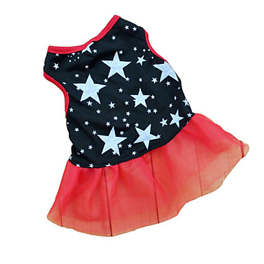 Cat Dog Dress Dog Clothes Stars Black Terylene Costume For Pets Women's Casual/Daily