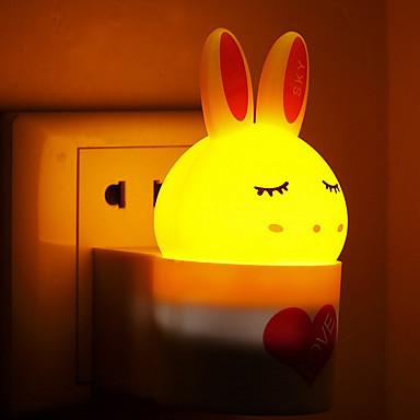 아기 수면 야간 조명 (모듬 된 색상)에 관한 창조적 따뜻한 흰 토끼 광 센서 사운드 유도