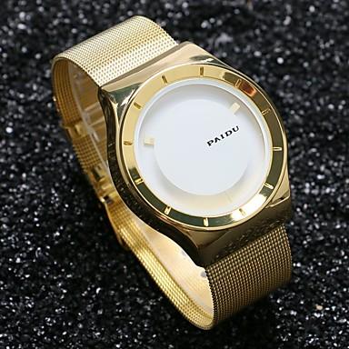 남성용 독특한 창조적 인 시계 손목 시계 석영 뜨거운 판매 스테인레스 스틸 밴드 참 골드