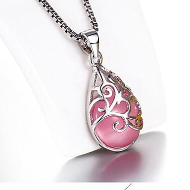 billige Mode Halskæde-Dame Syntetisk Opal Perler Halskædevedhæng Sølv Damer Mode Hvid Lys pink Halskæder Smykker Til Gave Daglig Afslappet