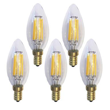 KWB 5pcs 6 W Bec Filet LED 600 lm E14 C35 6 LED-uri de margele COB Rezistent la apă Decorativ Alb Cald 220-240 V / 5 bc / RoHs / CE