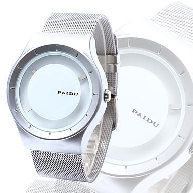 남성용 석영 독특한 창조적 인 시계 손목 시계 캐쥬얼 시계 스테인레스 스틸 밴드 참 실버