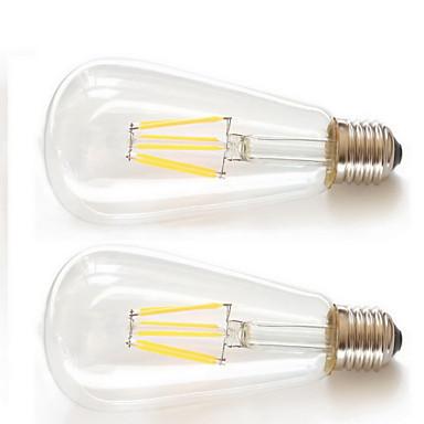 KAKANUO 2pcs 6W 600 lm E26/E27 LED-gloeilampen ST64 6pcs Filament COB leds COB Decoratief Warm wit AC 85-265V
